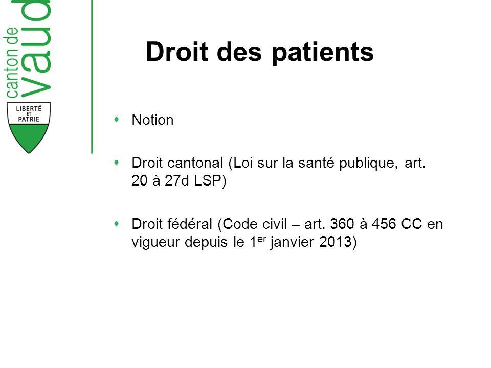 Droit des patients Notion Droit cantonal (Loi sur la santé publique, art. 20 à 27d LSP) Droit fédéral (Code civil – art. 360 à 456 CC en vigueur depui