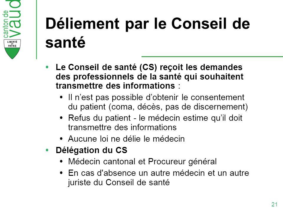 21 Déliement par le Conseil de santé Le Conseil de santé (CS) reçoit les demandes des professionnels de la santé qui souhaitent transmettre des inform