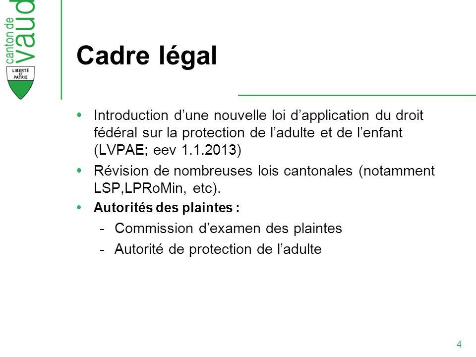 4 Cadre légal Introduction dune nouvelle loi dapplication du droit fédéral sur la protection de ladulte et de lenfant (LVPAE; eev 1.1.2013) Révision d