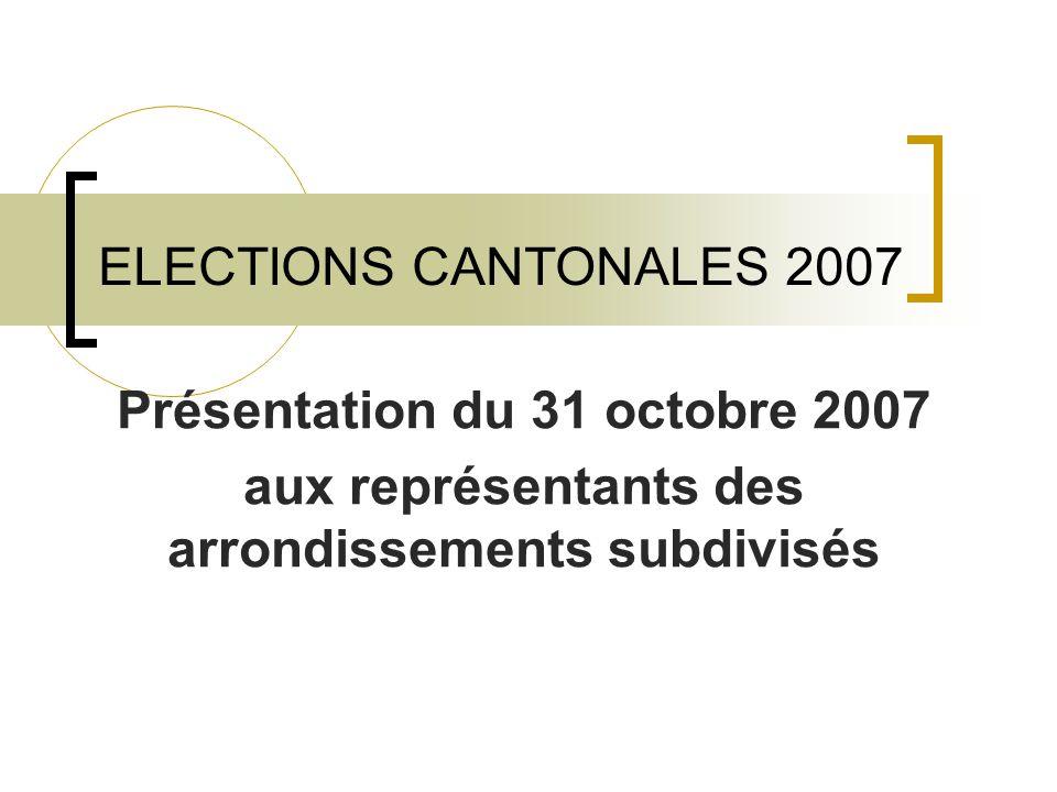 ELECTIONS CANTONALES 2007 Présentation du 31 octobre 2007 aux représentants des arrondissements subdivisés