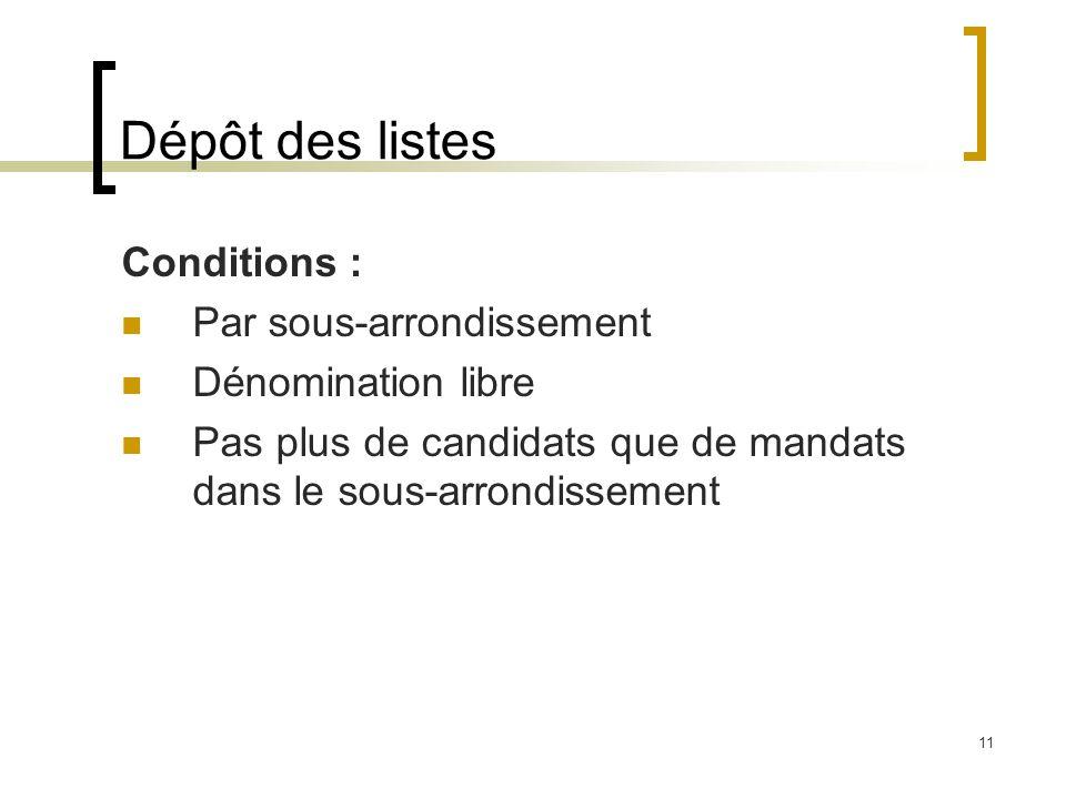 11 Dépôt des listes Conditions : Par sous-arrondissement Dénomination libre Pas plus de candidats que de mandats dans le sous-arrondissement