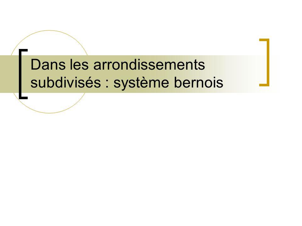 Dans les arrondissements subdivisés : système bernois