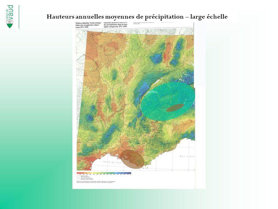 Hauteurs annuelles moyennes de précipitation – large échelle