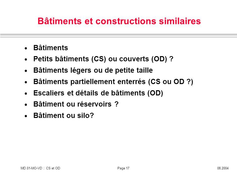 MD.01-MO-VD : CS et ODPage 1708.2004 Bâtiments et constructions similaires Bâtiments Petits bâtiments (CS) ou couverts (OD) ? Bâtiments légers ou de p