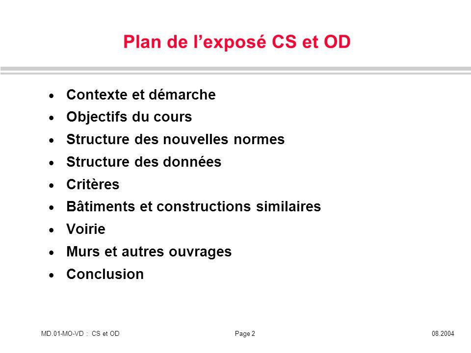 MD.01-MO-VD : CS et ODPage 208.2004 Plan de lexposé CS et OD Contexte et démarche Objectifs du cours Structure des nouvelles normes Structure des donn