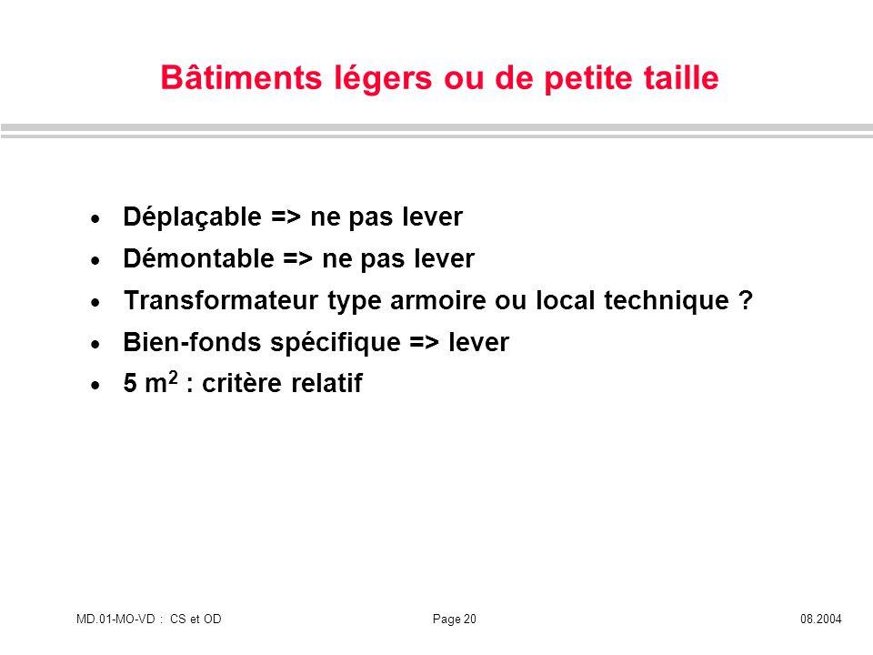 MD.01-MO-VD : CS et ODPage 2008.2004 Bâtiments légers ou de petite taille Déplaçable => ne pas lever Démontable => ne pas lever Transformateur type ar