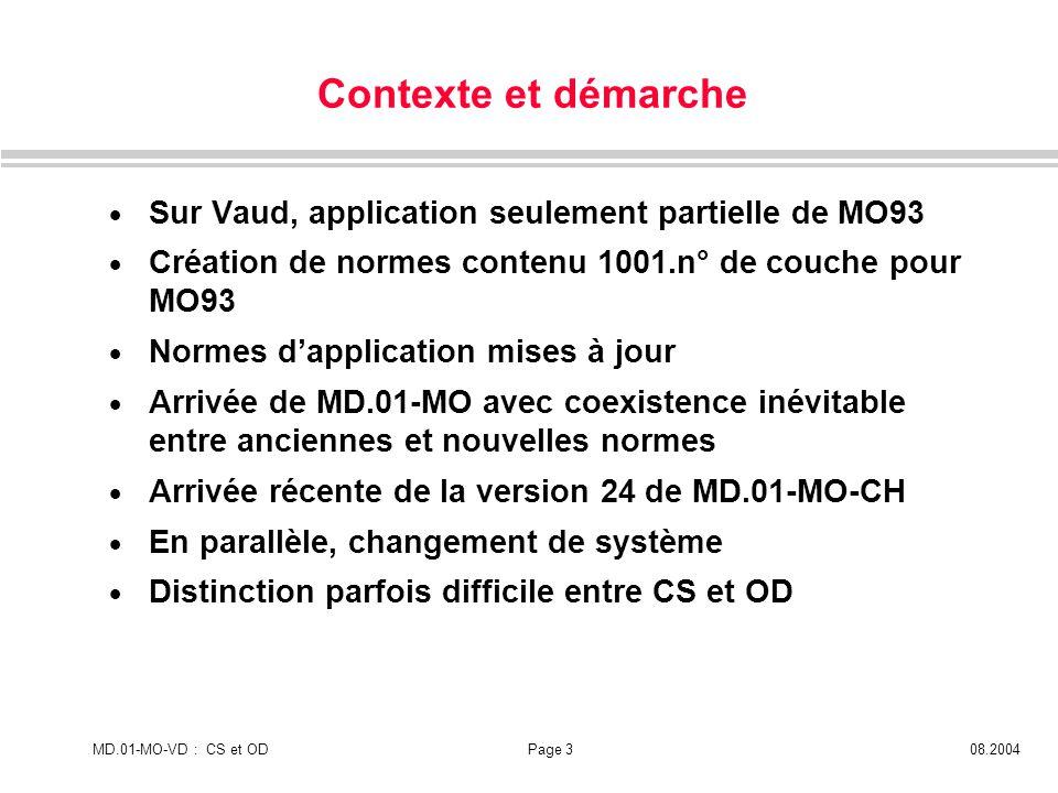 MD.01-MO-VD : CS et ODPage 308.2004 Contexte et démarche Sur Vaud, application seulement partielle de MO93 Création de normes contenu 1001.n° de couch