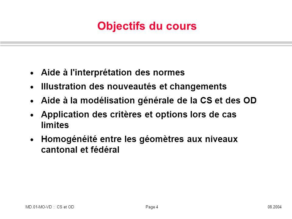 MD.01-MO-VD : CS et ODPage 408.2004 Aide à l'interprétation des normes Illustration des nouveautés et changements Aide à la modélisation générale de l