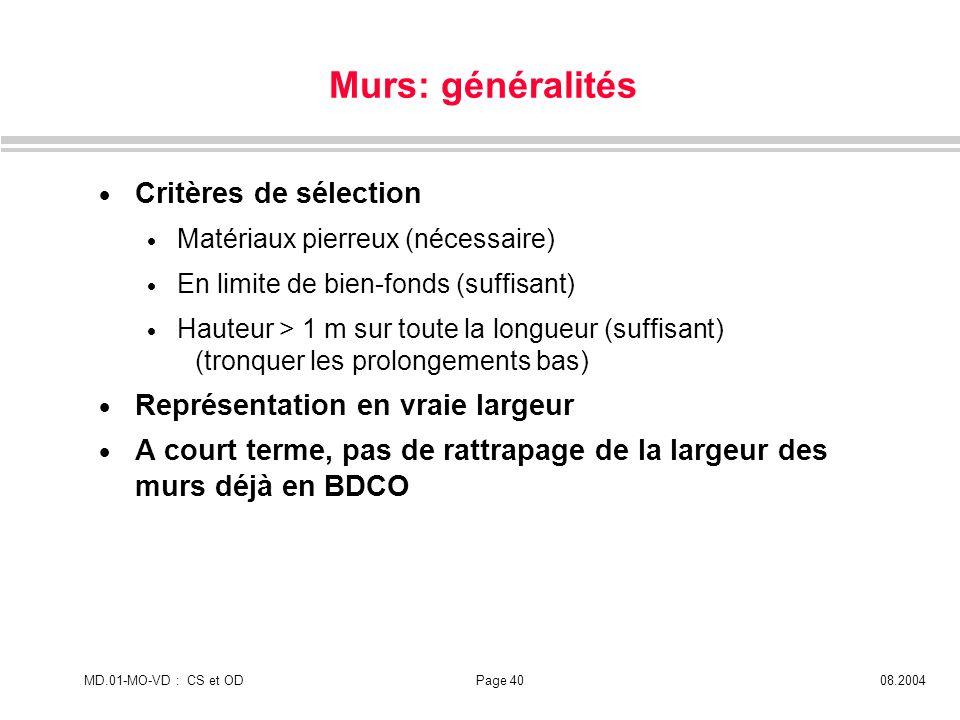 MD.01-MO-VD : CS et ODPage 4008.2004 Murs: généralités Critères de sélection Matériaux pierreux (nécessaire) En limite de bien-fonds (suffisant) Haute