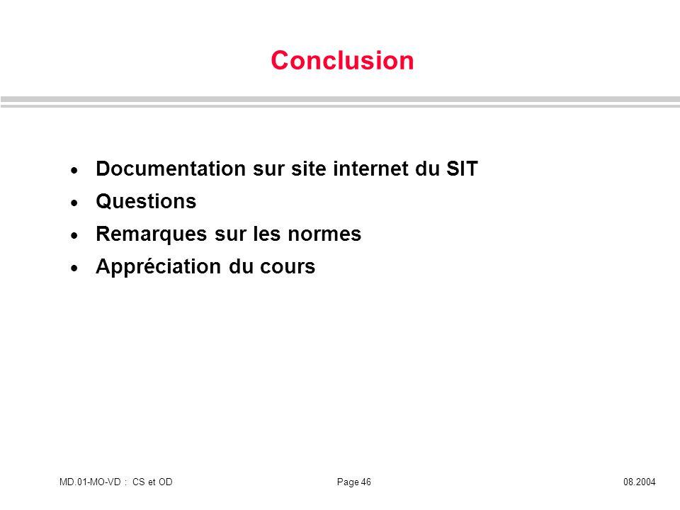 MD.01-MO-VD : CS et ODPage 4608.2004 Conclusion Documentation sur site internet du SIT Questions Remarques sur les normes Appréciation du cours