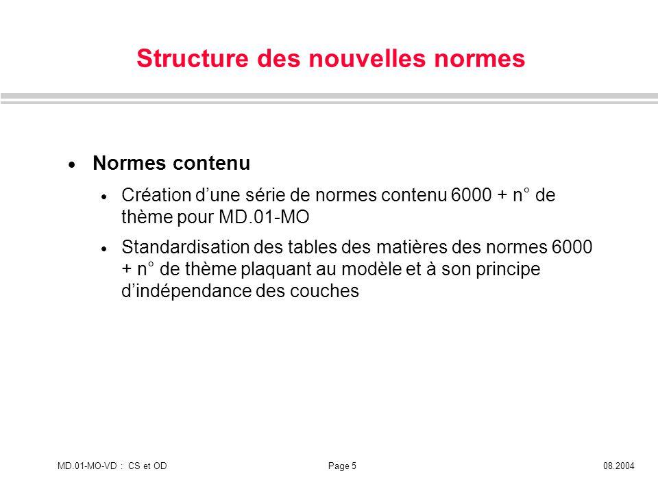 MD.01-MO-VD : CS et ODPage 508.2004 Structure des nouvelles normes Normes contenu Création dune série de normes contenu 6000 + n° de thème pour MD.01-