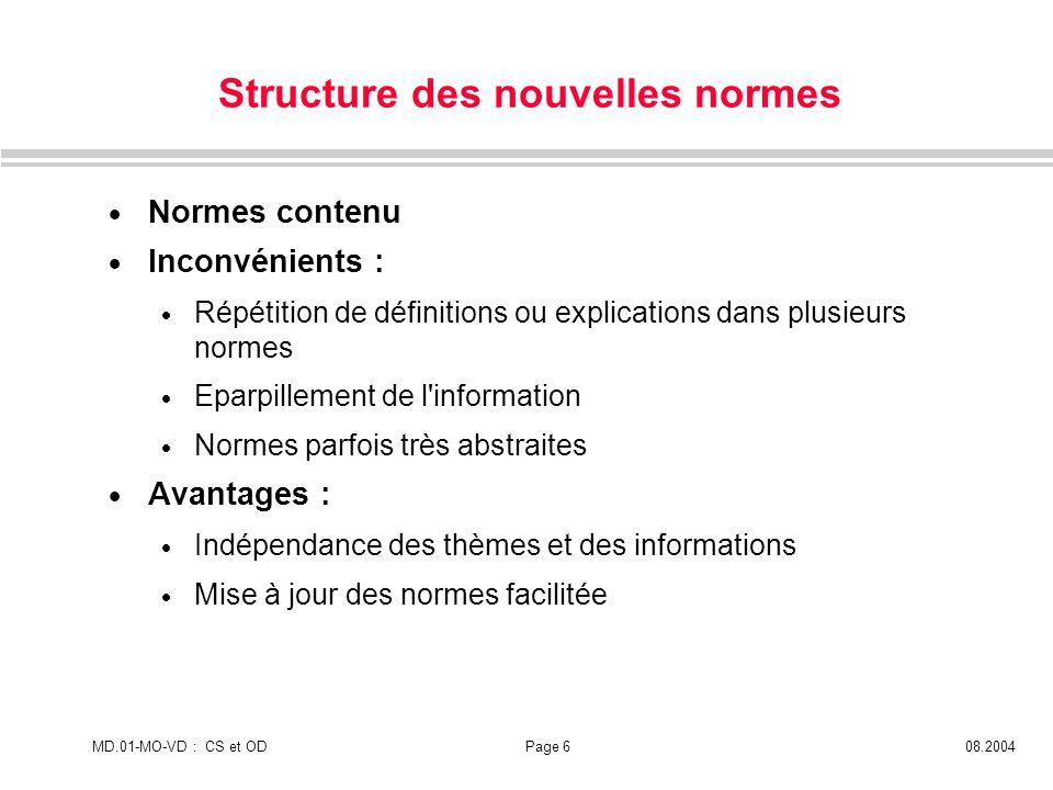 MD.01-MO-VD : CS et ODPage 608.2004 Structure des nouvelles normes Normes contenu Inconvénients : Répétition de définitions ou explications dans plusi