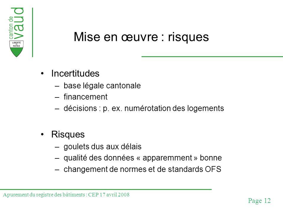 Apurement du registre des bâtiments : CEP 17 avril 2008 Page 12 Mise en œuvre : risques Incertitudes –base légale cantonale –financement –décisions :