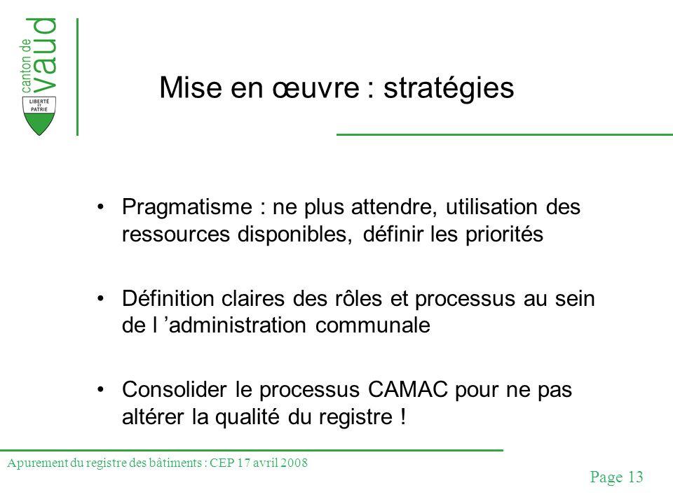 Apurement du registre des bâtiments : CEP 17 avril 2008 Page 13 Mise en œuvre : stratégies Pragmatisme : ne plus attendre, utilisation des ressources