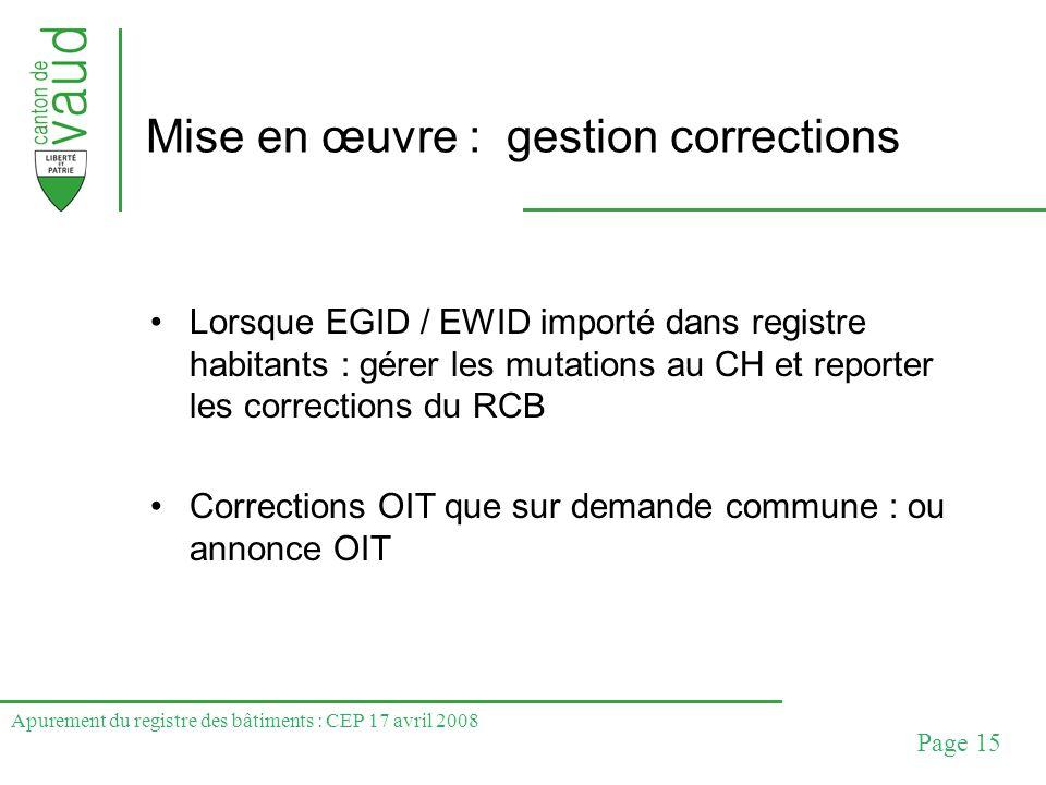 Apurement du registre des bâtiments : CEP 17 avril 2008 Page 15 Mise en œuvre : gestion corrections Lorsque EGID / EWID importé dans registre habitant