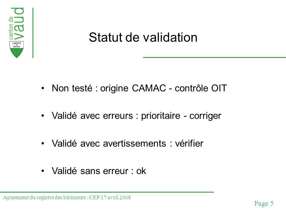Apurement du registre des bâtiments : CEP 17 avril 2008 Page 5 Statut de validation Non testé : origine CAMAC - contrôle OIT Validé avec erreurs : pri