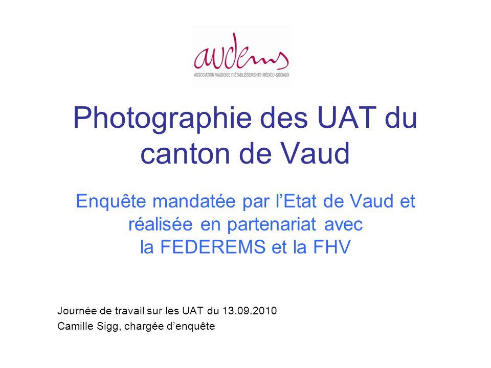 Photographie des UAT du canton de Vaud Enquête mandatée par lEtat de Vaud et réalisée en partenariat avec la FEDEREMS et la FHV Journée de travail sur