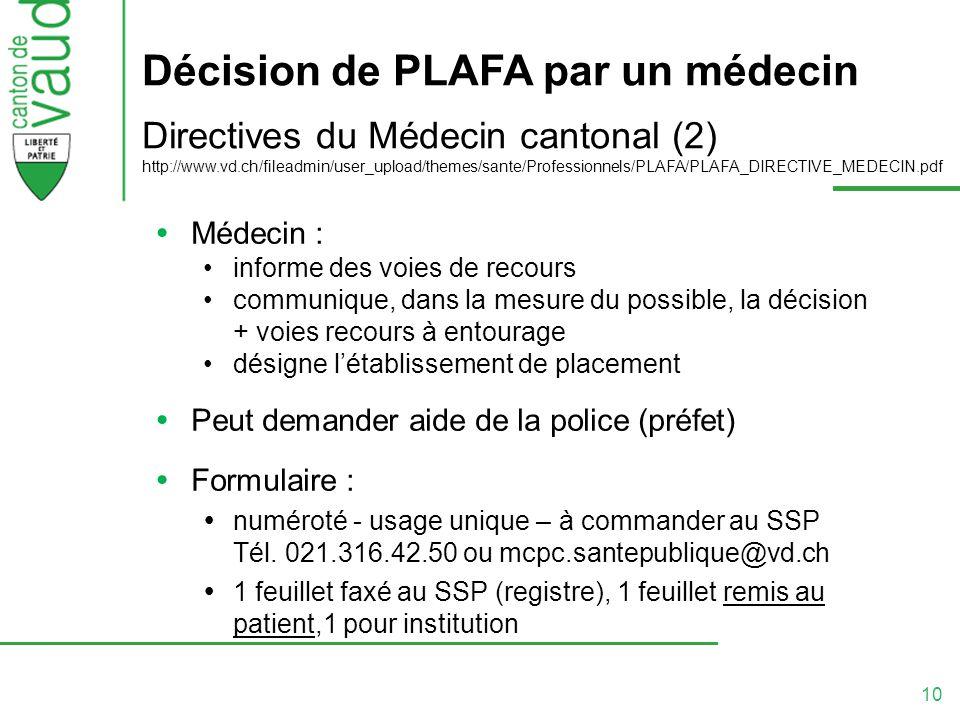 10 Décision de PLAFA par un médecin Directives du Médecin cantonal (2) http://www.vd.ch/fileadmin/user_upload/themes/sante/Professionnels/PLAFA/PLAFA_