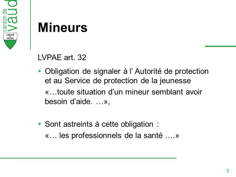 3 Mineurs LVPAE art. 32 Obligation de signaler à l Autorité de protection et au Service de protection de la jeunesse «…toute situation dun mineur semb