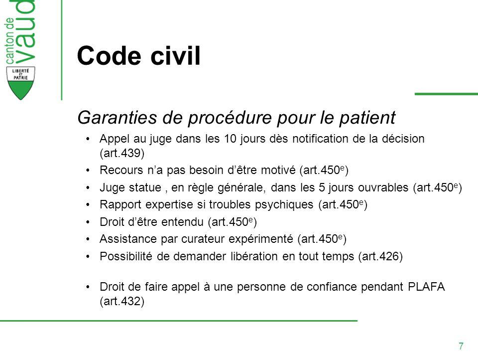 7 Code civil Garanties de procédure pour le patient Appel au juge dans les 10 jours dès notification de la décision (art.439) Recours na pas besoin dê