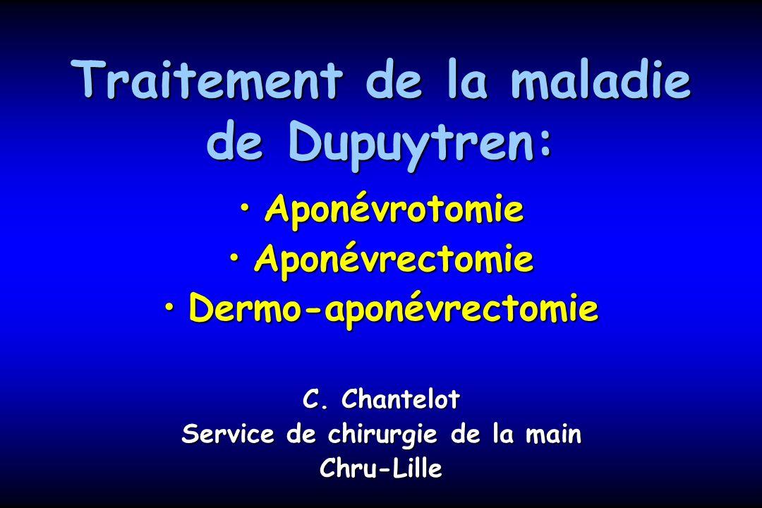Traitement de la maladie de Dupuytren: AponévrotomieAponévrotomie AponévrectomieAponévrectomie Dermo-aponévrectomieDermo-aponévrectomie C.