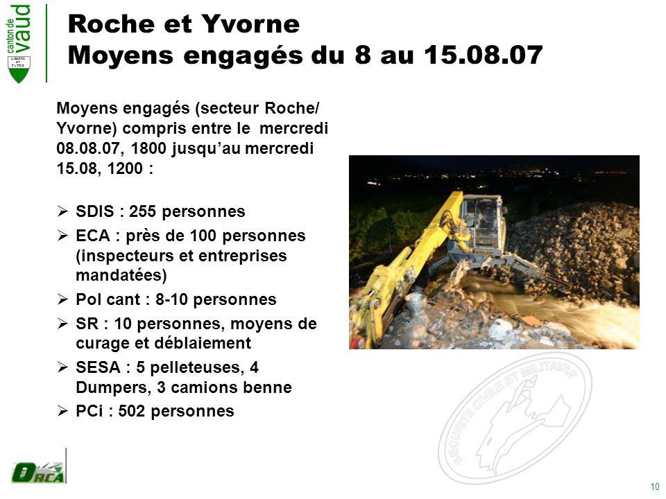 10 LIBERTE ET PATRIE Roche et Yvorne Moyens engagés du 8 au 15.08.07 SDIS : 255 personnes ECA : près de 100 personnes (inspecteurs et entreprises mandatées) Pol cant : 8-10 personnes SR : 10 personnes, moyens de curage et déblaiement SESA : 5 pelleteuses, 4 Dumpers, 3 camions benne PCi : 502 personnes Moyens engagés (secteur Roche/ Yvorne) compris entre le mercredi 08.08.07, 1800 jusquau mercredi 15.08, 1200 :