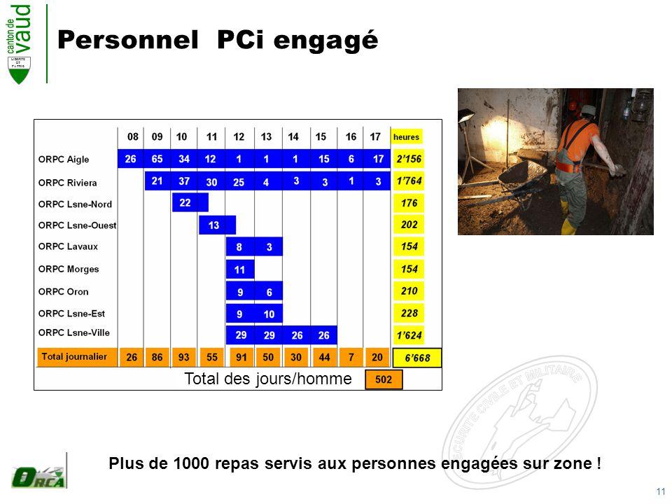 11 LIBERTE ET PATRIE Personnel PCi engagé Total des jours/homme Plus de 1000 repas servis aux personnes engagées sur zone !