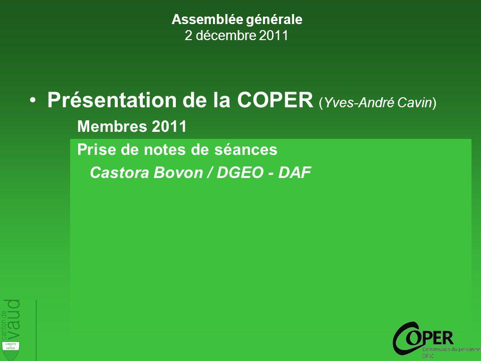 Présentation de la COPER (Yves-André Cavin) Membres 2011 Prise de notes de séances Castora Bovon / DGEO - DAF Assemblée générale 2 décembre 2011