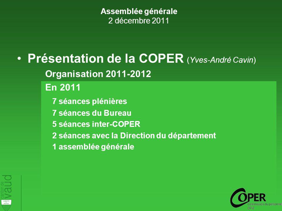 Présentation de la COPER (Yves-André Cavin) Organisation 2011-2012 En 2011 7 séances plénières 7 séances du Bureau 5 séances inter-COPER 2 séances avec la Direction du département 1 assemblée générale Assemblée générale 2 décembre 2011