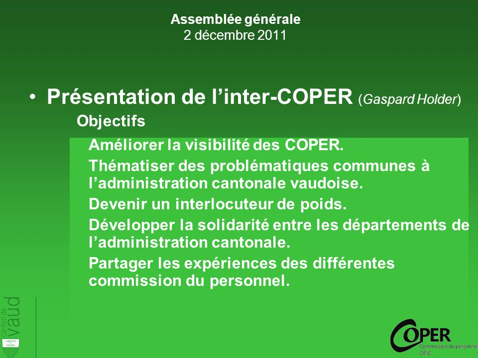 Présentation de linter-COPER (Gaspard Holder) Objectifs Améliorer la visibilité des COPER.