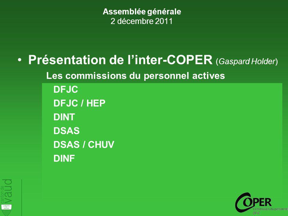 Présentation de linter-COPER (Gaspard Holder) Les commissions du personnel actives DFJC DFJC / HEP DINT DSAS DSAS / CHUV DINF Assemblée générale 2 décembre 2011