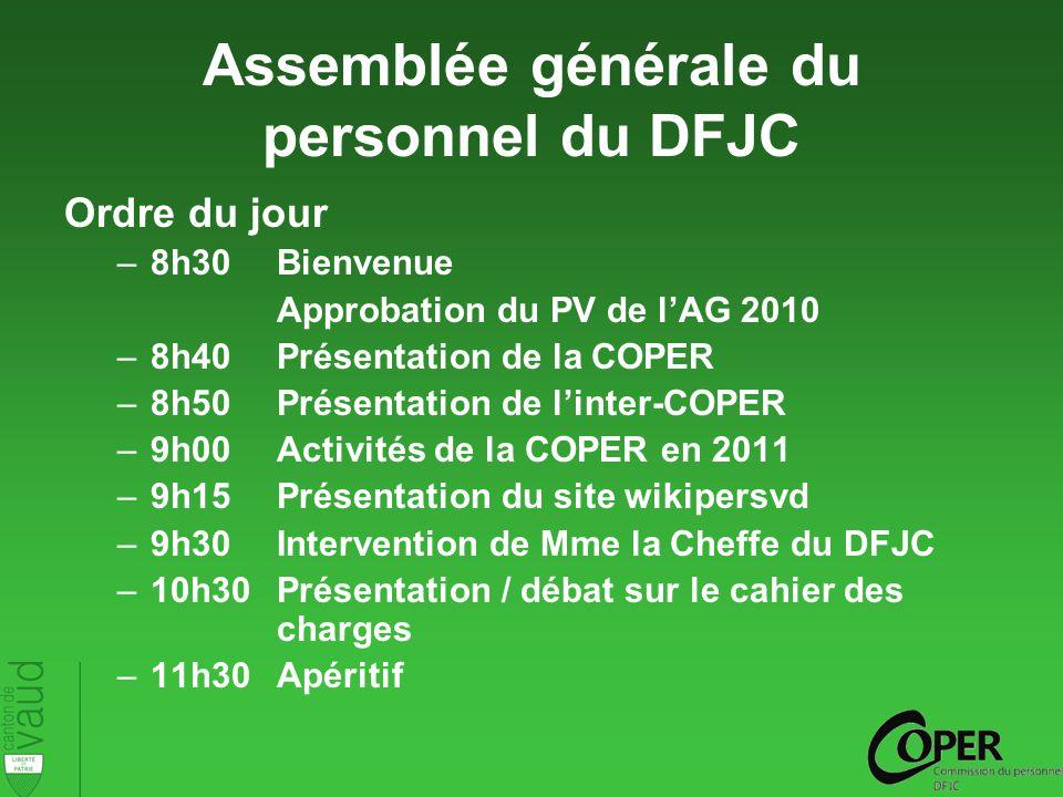 Assemblée générale du personnel du DFJC Ordre du jour –8h30Bienvenue Approbation du PV de lAG 2010 –8h40Présentation de la COPER –8h50Présentation de linter-COPER –9h00Activités de la COPER en 2011 –9h15Présentation du site wikipersvd –9h30Intervention de Mme la Cheffe du DFJC –10h30Présentation / débat sur le cahier des charges –11h30Apéritif