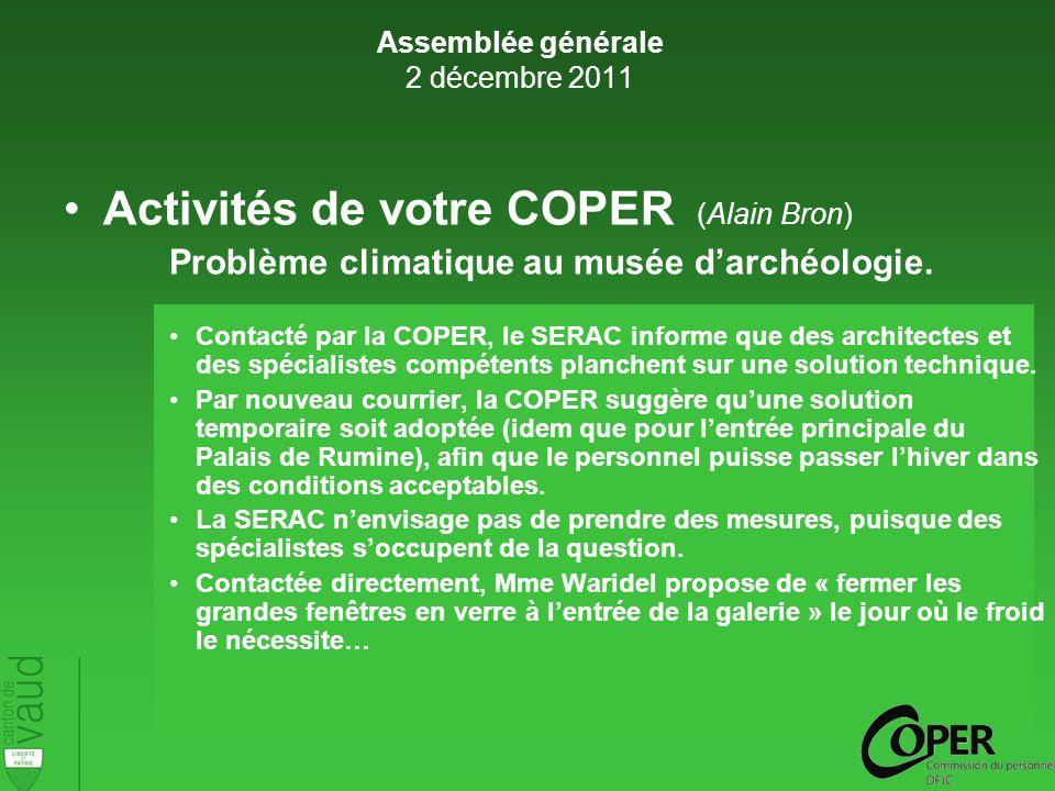 Activités de votre COPER (Alain Bron) Problème climatique au musée darchéologie.