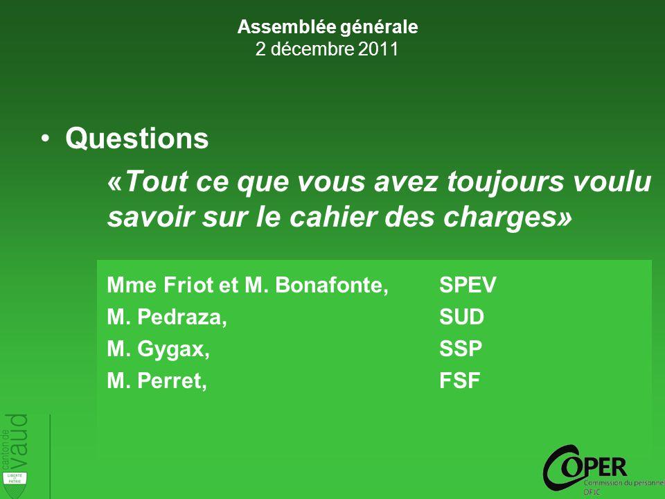 Questions «Tout ce que vous avez toujours voulu savoir sur le cahier des charges» Mme Friot et M.