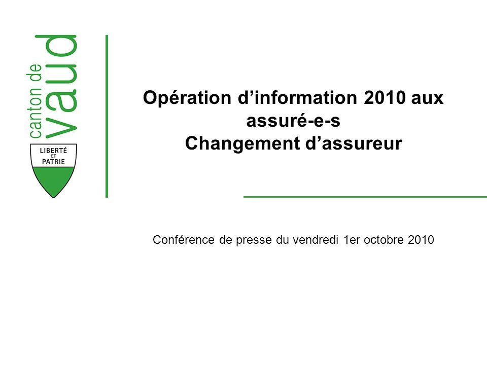 Conférence de presse du vendredi 1er octobre 2010 Opération dinformation 2010 aux assuré-e-s Changement dassureur