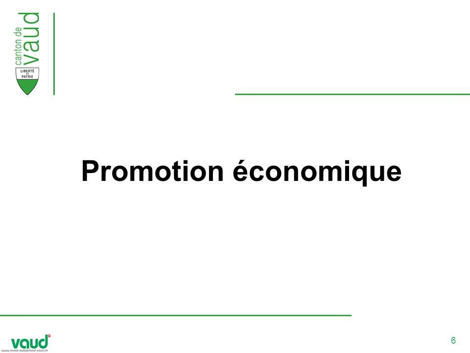 7 Organisation La promotion économique vaudoise est composée de trois acteurs principaux : Le Service de léconomie du logement et du tourisme (SELT) Le Développement économique vaudois (DEV) Les Communautés dintérêt (promotion économique régionale) Ces acteurs sappuient sur un réseau de partenaires offrant des prestations ciblées dans différents domaines (création, coaching, location de bureaux et vente de terrains, transfert de technologies, financement, etc.).
