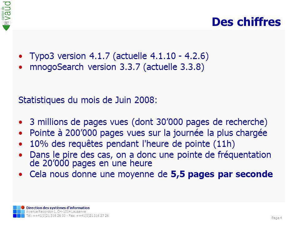 Direction des systèmes dinformation Avenue Recordon 1, CH-1014 Lausanne Tél: ++41(0)21 316 26 00 - Fax: ++41(0)21 316 27 26 Page 15 Divers Remarques iFrame (sr_iframe)Modifications nécessaires de lextension Taille verticale fixe Programmation de la page de recherche mnoGo Utilisation dexpression régulière pour afficher le titre Les parsersIls doivent être à jour même si les dernières versions datent Modification des templates Typo3 Ajout des balises … pour exclure des éléments de la page de lindexation.