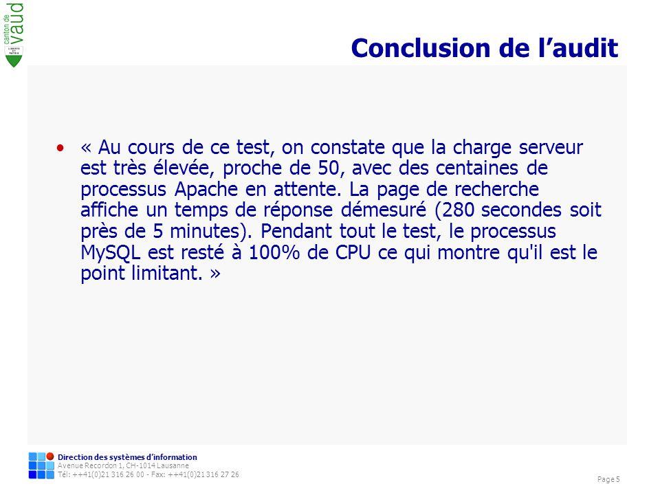 Direction des systèmes dinformation Avenue Recordon 1, CH-1014 Lausanne Tél: ++41(0)21 316 26 00 - Fax: ++41(0)21 316 27 26 Page 5 Conclusion de laudit « Au cours de ce test, on constate que la charge serveur est très élevée, proche de 50, avec des centaines de processus Apache en attente.