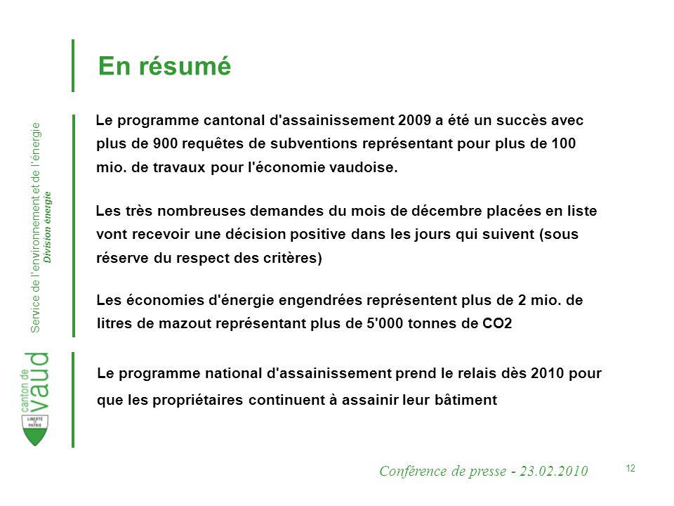 Conférence de presse - 23.02.2010 Service de lenvironnement et de lénergie Division énergie 12 En résumé Le programme cantonal d assainissement 2009 a été un succès avec plus de 900 requêtes de subventions représentant pour plus de 100 mio.