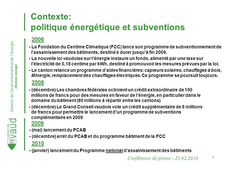 Conférence de presse - 23.02.2010 Service de lenvironnement et de lénergie Division énergie 5 - La Fondation du Centime Climatique (FCC) lance son programme de subventionnement de lassainissement des bâtiments, destiné à durer jusquà fin 2009.