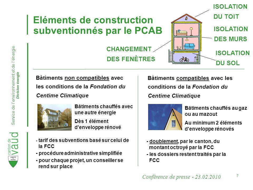 Conférence de presse - 23.02.2010 Service de lenvironnement et de lénergie Division énergie 8 Un grand succès.