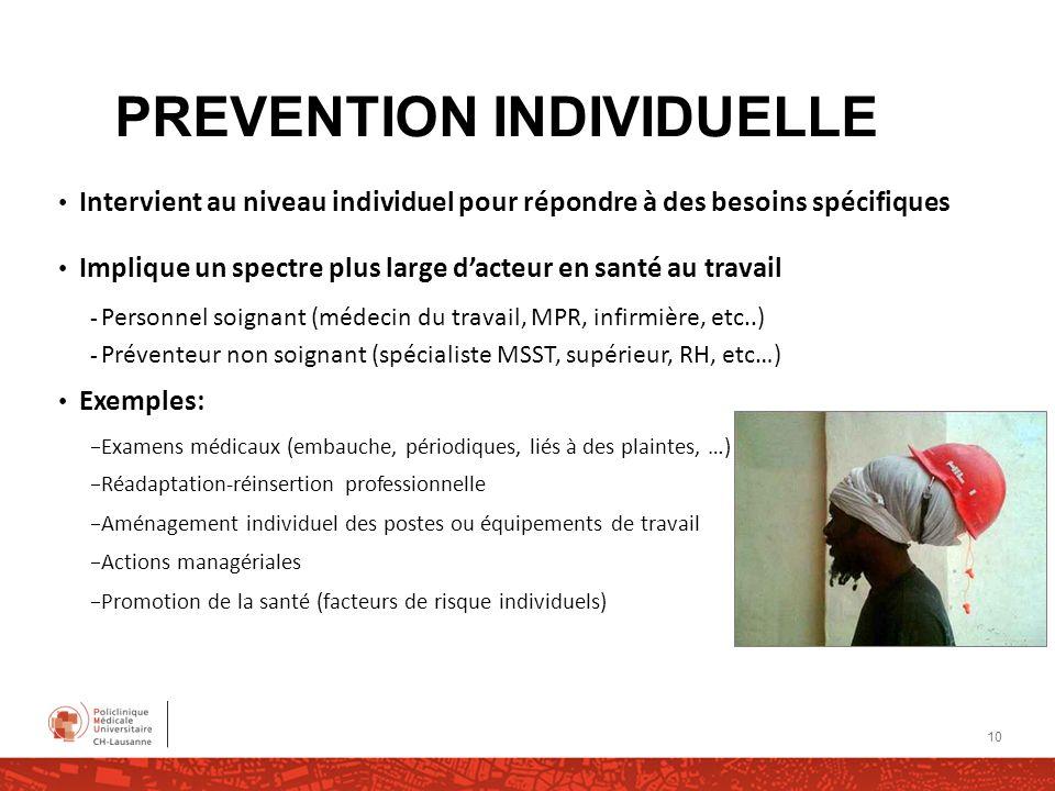 PREVENTION INDIVIDUELLE Intervient au niveau individuel pour répondre à des besoins spécifiques Implique un spectre plus large dacteur en santé au tra