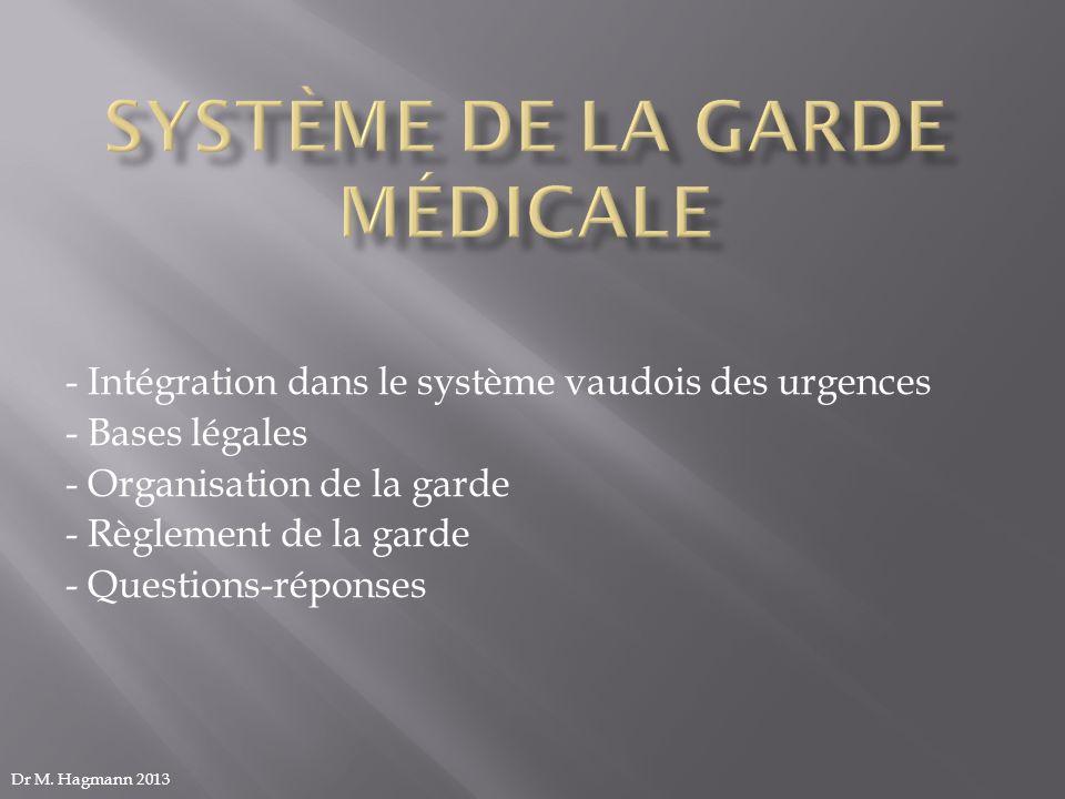 - Intégration dans le système vaudois des urgences - Bases légales - Organisation de la garde - Règlement de la garde - Questions-réponses Dr M. Hagma