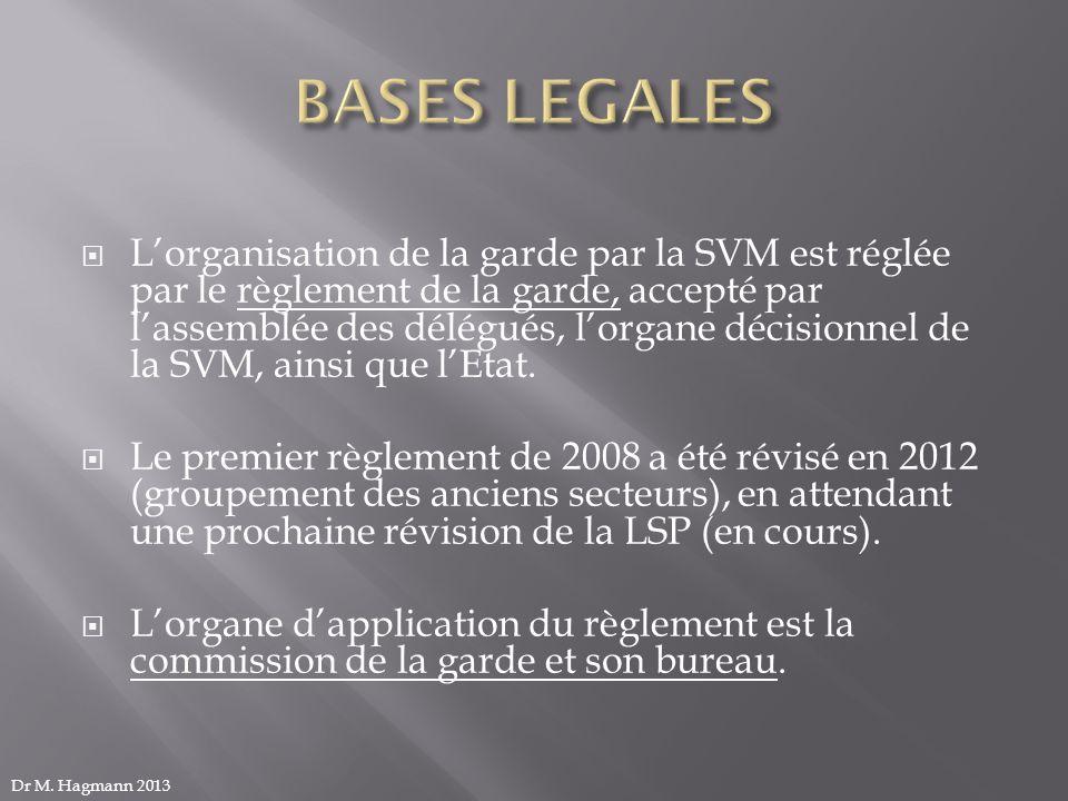 Lorganisation de la garde par la SVM est réglée par le règlement de la garde, accepté par lassemblée des délégués, lorgane décisionnel de la SVM, ains