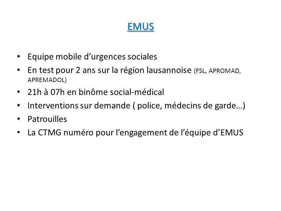 EMUS Equipe mobile durgences sociales En test pour 2 ans sur la région lausannoise (FSL, APROMAD, APREMADOL) 21h à 07h en binôme social-médical Interv