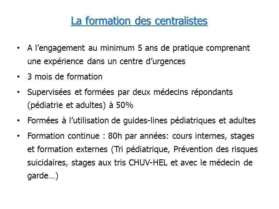 La formation des centralistes A lengagement au minimum 5 ans de pratique comprenant une expérience dans un centre durgences 3 mois de formation Superv