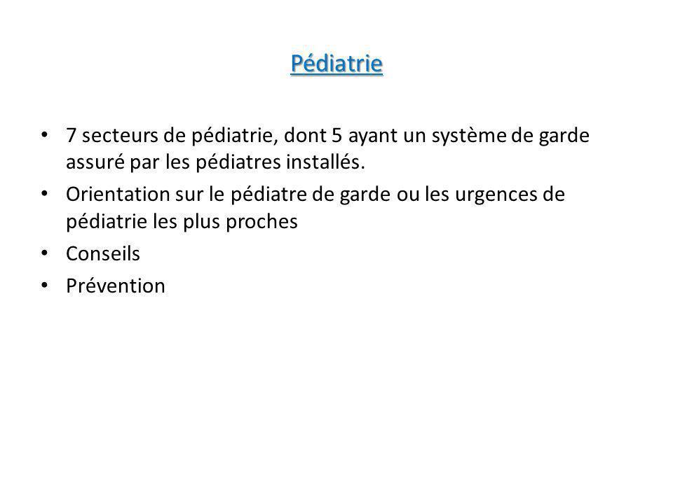 Pédiatrie 7 secteurs de pédiatrie, dont 5 ayant un système de garde assuré par les pédiatres installés. Orientation sur le pédiatre de garde ou les ur