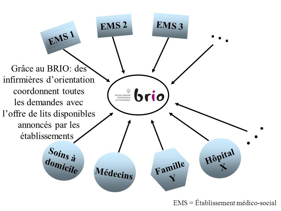 Soins à domicile Médecins Famille Y Hôpital X EMS 1 EMS 2 EMS 3 a Grâce au BRIO: des infirmières dorientation coordonnent toutes les demandes avec lof