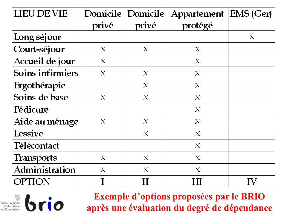 Exemple doptions proposées par le BRIO après une évaluation du degré de dépendance a
