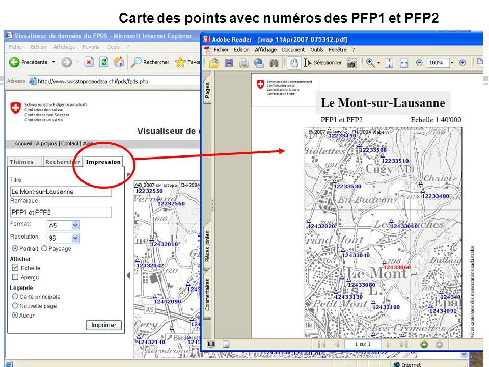 Info FPDS, juillet 2010Page 11OIT DINF-VD Carte des points avec numéros des PFP1 et PFP2